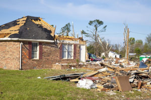 Damaged residential home